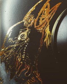 Waiting on parts to fix my bike…perfect time to lay down some artwork on the new tank. #toxicvision #sportster #harleydavidson #goldleaf #makeart