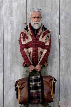 Glorious Grey. ܀ #beard #beardedman #beardspiration #menswear #autumn #fall