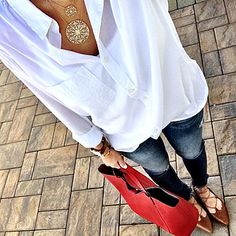 Super easy Easter Hope everyone had a great day! Shop my through your ema. Fall Fashion Outfits, Chic Outfits, Spring Outfits, Womens Fashion, Autumn Outfits, White Shirt Men, Red Tote Bag, Casual Bags, Fashion Advice
