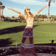 Paris Hilton's lace-and-cat-ears outfit is the coolest version of grandma chic. #crazyawesomecatlady #refinery29 http://www.refinery29.com/2016/04/108525/celebrities-coachella-music-festival#slide-2