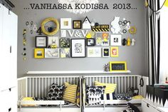 Black and white nursery/toddlers room with yellow safari accents - helps tie it all together. Ikea Baby Room, Boy Room, Kids Room, Gender Neutral Bedrooms, Yellow Nursery, Shared Bedrooms, Kids Decor, Home Decor, Kid Spaces