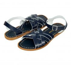 This Season's Styles & The Latest Sandal Collection - Salt-Water Navy Sandals, Leather Sandals Flat, Navy Women, Ankle Straps, Huaraches, Womens Flats, Retro, Salt, 40 Years