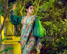 Green Saree, Green Blouse, Regina Cassandra, Cut Work, How To Look Classy, Embroidered Blouse, Blouse Designs, Floral Prints, Pastel
