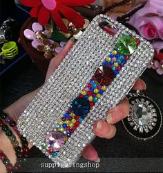 Bling New Luxury Lovely Fashion Sparkles Charms Glossy Unique Jewelled Crystals Rhinestones Diamonds Gems Hard Cover Case for Mobile Phone