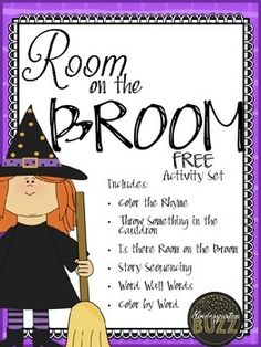 Room on the Broom Activity SetA great activity package to go along with the story.Included: -Poem coloring page-Something to throw in the Cauldron writing page-Is there Room on the Broom for Me? Activity sheet-Sequencing cards-Word Wall cards-Color by Sight Word Activity page (you select the sight words you would like to use).