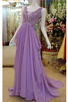 Gorgeous V Neck Sheer Back Lilac Chiffon Draped Prom Dress With Bow Lilac Prom Dresses, Prom Dresses 2017, Formal Dresses, Dress With Bow, Celebrations, Outfit Ideas, Chiffon, Bows, V Neck