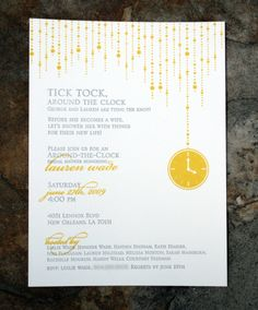 Around the Clock bridal shower :: 2 color letterpress :: original illustration