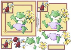 Hopping excited 6x6 square card front with decoupage on Craftsuprint designed by Amanda McGee - Cute 6x6 square card front featuring a frog and a ladybird with flowers.