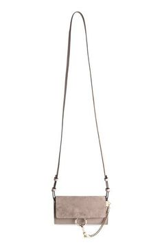 a09ce95885eb Chloé Mini Faye Suede   Leather Wallet on a Chain Chloe Wallet