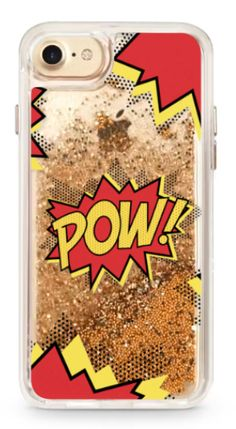 Casetify iPhone 7 gold glitter Case 'POW' comic typography / caligraphy ' by Marta Olga Klara | Casetify #glitter #gold #girlpower