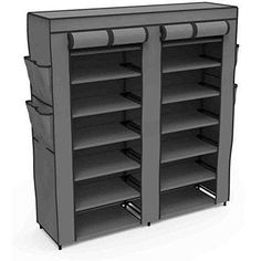 Buy Home Basics Multipurpose Portable Wardrobe Storage Closet For Shoes and Clothing 7 Shelves Heavy Duty Non Woven Material With Roll Down Cover (Grey) Wardrobe Storage, Wardrobe Closet, Closet Storage, Closet Organization, Locker Storage, Organization Ideas, Closet Racks, Office Organisation, Storage Ideas