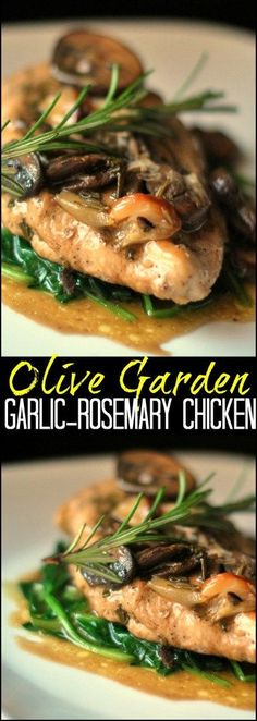 This fantastic #CopyCat Olive Garden Garlic-Rosemary Chicken skillet recipe has some of my favorite ingredients: roasted garlic, mushrooms and spinach, then finished with a white wine pan sauce that gives it out of this WORLD flavor!   Great for a date night in!