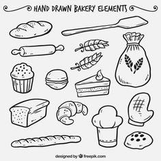Elementos dibujados a mano de panadería