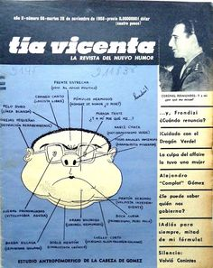 Tía Vicenta, la revista del nuevo humor, año 2, número 68, martes 25 de noviembre de 1958, ilustración de portada: estudio antropomórfico de la cabeza de Gómez, Landrú