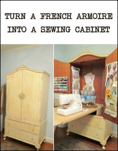 French Armoire Sewing Cabinet