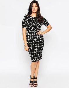 ASOS Curve | ASOS CURVE Dress In Grid Print at ASOS