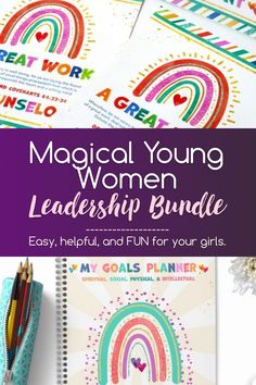 Your girls will love the fun energy from the rainbows 🌈 and bright colors in this kit, and you will sigh with relief knowing you are prepared for whatever 2021 brings. Get your copy now! #YoungWomen #LDSyoungwomen #LDSprintables #LatterDaySaint #Ministering #MinisteringPrintables #RainbowPrintables Name Tent, Lds Blogs, Goals Sheet, Lip Balm Labels, Ways To Show Love, Women In Leadership, Visiting Teaching, Thing 1, Calendar Pages