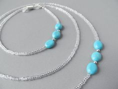 Beaded Eyeglass Chain Holder Turquoise Clear by HalfSnow on Etsy