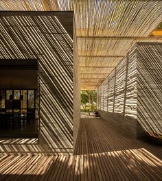 Bamboo Architecture, Residential Architecture, Interior Architecture, Sand House, Bamboo House, Bungalows, Studio Mk27, Studio Studio, Pool Installation