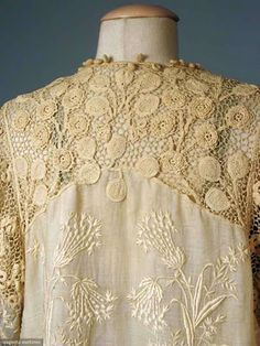 Irish lace and crochet - ivory lawn jacket with roses and leaves in dimensional Irish crochet auction estimate is between...