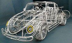 Miniatura de fusca com fio de alumínio