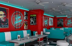 COMMENT I only like the neon/art idea, not the colour scheme or furniture (apart from that the art/neon matches the colours) Café Retro, Retro Cafe, Retro Room, 1950 Diner, Vintage Diner, Retro Diner, American Diner Kitchen, 50s Diner Kitchen, 1950 American Diner