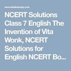 NCERT Solutions Class 7 English The Invention of Vita Wonk, NCERT Solutions for English NCERT Books