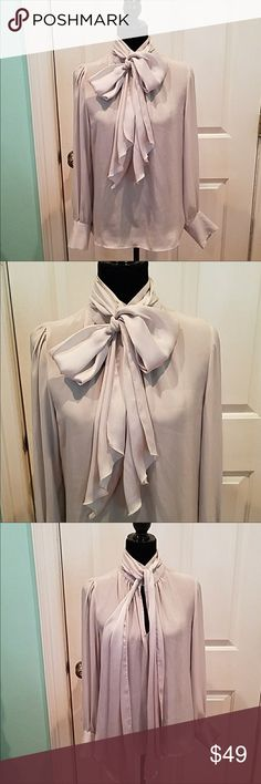 Zara high neck pussy bow blouse Beautiful. Pale grey with huge bow and gold accent buttons on cuffs Zara Tops Blouses
