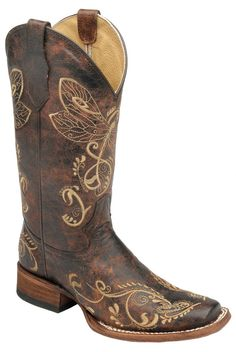 Corral Boots Womens Leather Circle G Dragonfly Brown Sq Toe Cowgirl
