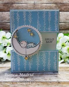 Stampin Up Hello Baby Card (video) from The Stampin B Baby Boy Cards Handmade, New Baby Cards, Handmade Birthday Cards, Handmade Cards, Welcome Card, Baby Shower Cards, Card Making Inspiration, Card Sketches, Kids Cards