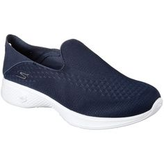Skechers Women's Skechers Gowalk 4 - Convertible Navy - Skechers... ($65) ❤ liked on Polyvore featuring shoes, athletic shoes, navy, mesh athletic shoes, foldable shoes, skechers footwear, navy blue shoes and navy athletic shoes