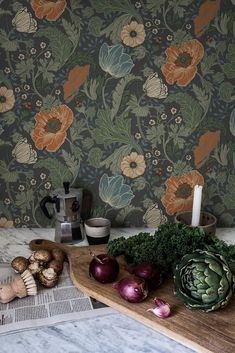 Anemone Wallpaper from the Apelviken Collection by Midbec Wallpapers is a dark floral wallpaper with orange flowers and green and blue leaves. Kitchen Wallpaper, Wallpaper Decor, Wallpaper Samples, Flower Wallpaper, Pattern Wallpaper, Wallpaper Backgrounds, Wallpaper Ideas, Floral Wallpapers, Green Floral Wallpaper