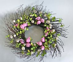 #spring wreath #pink #green