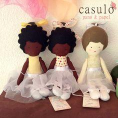 Boneca de Pano Bailarina - Casulo - Pano & Papel