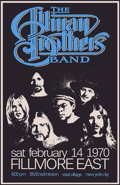 The Allman Brothers Band 1970 Poster for Fillmore East concert Allman Brothers, Tour Posters, Band Posters, Music Posters, Film Posters, Blues Rock, Rock N Roll Music, Rock And Roll, Bruce Dickinson