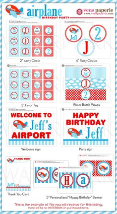 Airplane Party Package Personalized FULL Collection by venspaperie