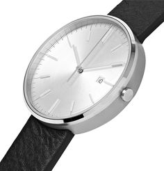 Uniform Wares Precidrive Stainless Steel And Leather Watch In Silver Uniform Wares, 5 Bar, Stainless Steel Case, Italian Leather, Black Leather, Watches, Crystals, Silver, Accessories