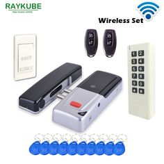 135.00$  Watch here - http://aliwnh.worldwells.pw/go.php?t=32782805380 - RAYKUBE New Wireless 433Mhz Access Control Kit Wireless Electric Door Lock RFID Keypad Remote Control Exit Button 135.00$