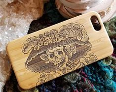 Day of the Dead Skull bamboo wood iPhone case