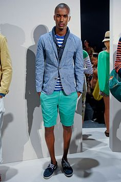jcrew spring 2012. men's roadmap piece: chambray unstructured blazer, stripes, solid teal skinny shorts.