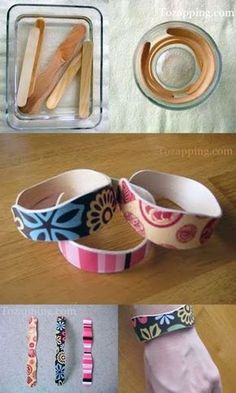 DIY: popsicle stick bracelets: boil in water for 15 minutes then place in cup to dry. Decorate with markers, buttons, glitter, or decoupage. Royer new use for those popsicle sticks.I may bring some of these with me. Kids Crafts, Cute Crafts, Crafts To Make, Craft Projects, Arts And Crafts, Stick Crafts, Family Crafts, Easy Crafts, Popsicle Crafts