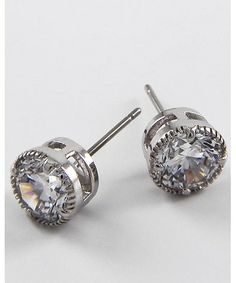189187 Rhodiumized / Clear Cubic Zirconia / Lead Compliant / Round Studs / Post Earring Set