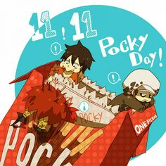 Pocky Day supernova monster trio 3 rookie Captains Trafalgar D. Water Law, Monkey D. Luffy, Eustass Kid One piece