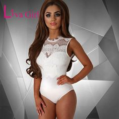 736891973b4 Liva Girl Women Sexy Lace Sleeveless Spandex Bodysuit Backless Women White Bodycon  Jumpsuit Romper Sheer Transparent Bodysuit