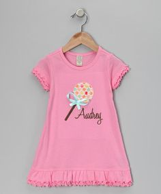 Take a look at this Blissful Embroidery Pink Lollipop Personalized Dress by Individual Style: Personalized Pieces on #zulily today! #fall