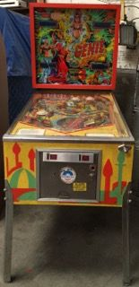 D GOTTLIEB AND COMPANY COIN OPERATED GENIE PINBALL MACHINE. LIGHTS TURN ON. MEASURES 70 INCHES HIGH, 56 INCHES LONG AND 29 INCHES WIDE.
