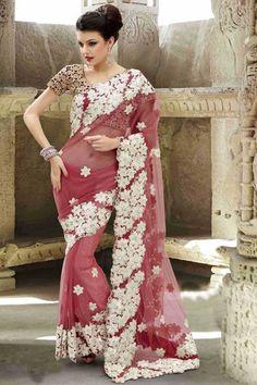 Burgundy and Cream Net Resham and Zari Thread Embroidered Border Saree – Your Bridal Bazaar