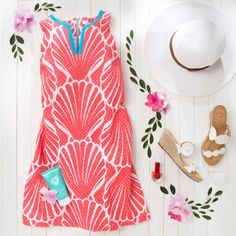 4f092ac265f91 Perfect OOTD for Summer: crown & ivy seashell print eyelet shift dress,  Jack Rogers