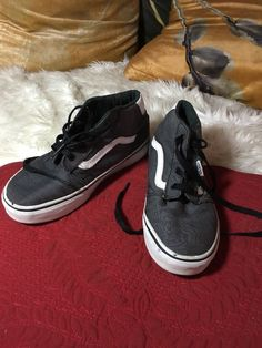 f84acdc8a1 Van's Sneaker Shoe Big Girl Boy Kid Youth Size 13 Gray/Black/blue In great  used condition.