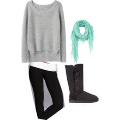 sweater and leggings with boots and lovely scarf